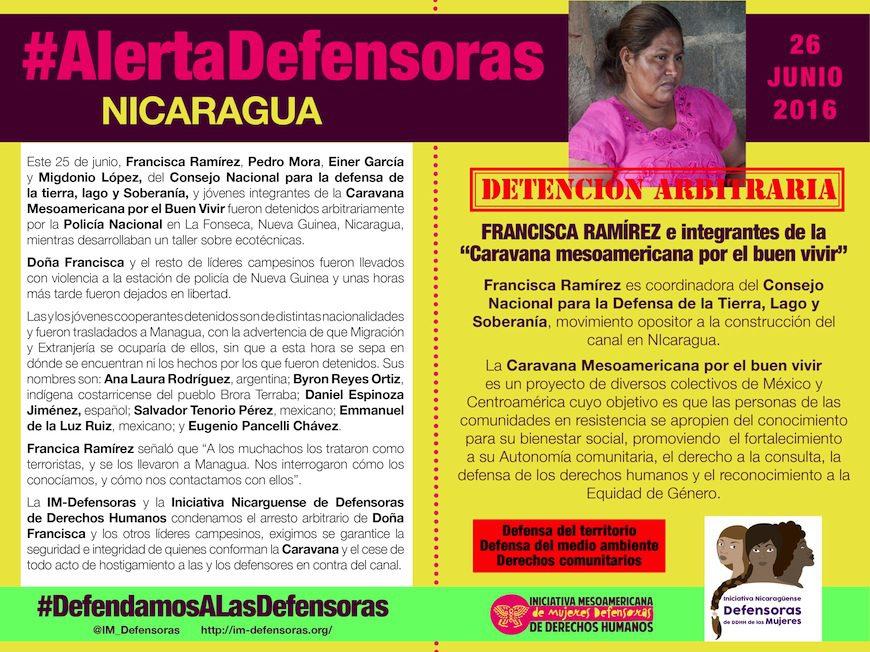 Afiche que difundió en redes la Iniciativa Mesoamericana de Defensoras de Derechos Humanos para denunciar la detención arbitraria de doña Francisca y otros líderes campesinos.