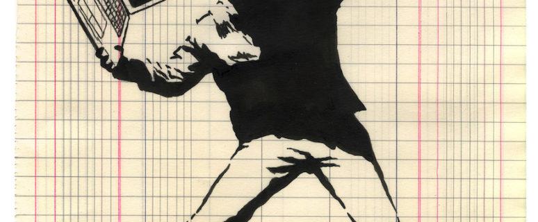 Un chico con actitud combativa se dispone a arrojar un portátil./ Ilustración de Gorka Olmo