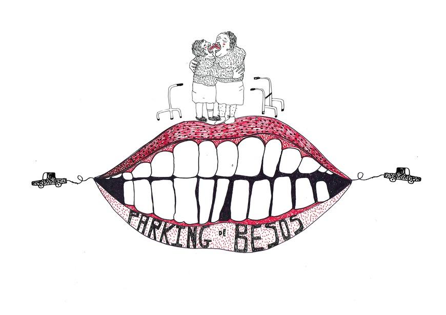 """""""Parking de besos"""", ilustración de Natalia Fariñas para el Calendario Feminista"""