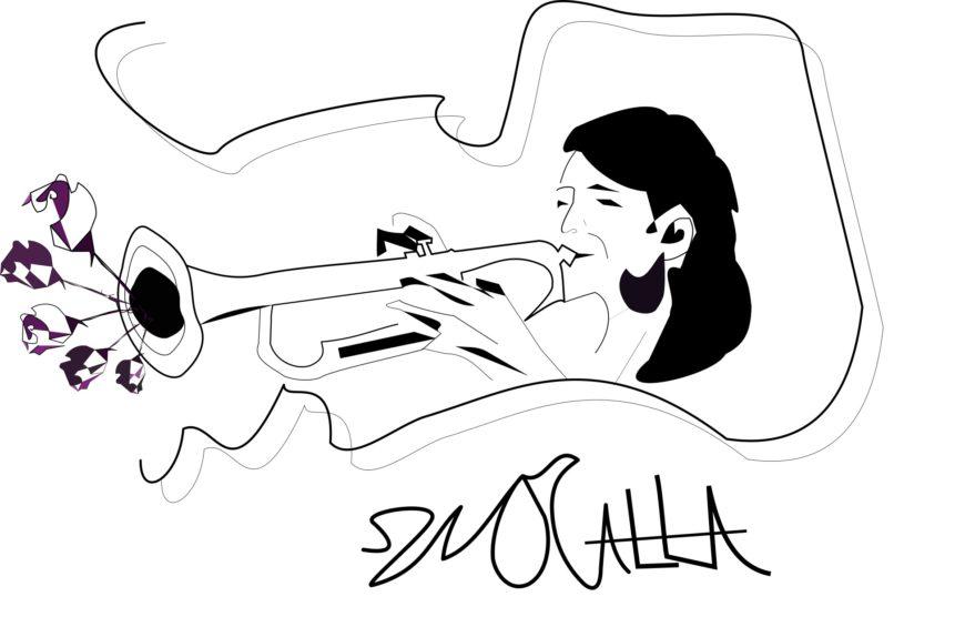 Ilustración de la autora. Se ve una mujer tocando una trompeta. En blanco y negro.