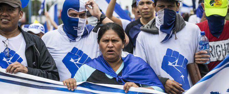 Francisca Ramírez en la marcha 'Juntos Somos un Volcán' el pasado julio en Managua./ Jorge Mejía Peralta