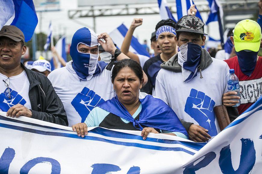 """Francisca Ramírez en la marcha 'Juntos Somos un Volcán' el pasado julio en Managua./ <a href=""""https://www.flickr.com/photos/mejiaperalta/"""" target=""""_blank"""" rel=""""noopener noreferrer"""">Jorge Mejía Peralta</a>"""