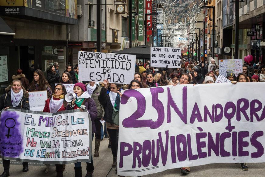 Manifestación en Andorra el 25N de 2018.