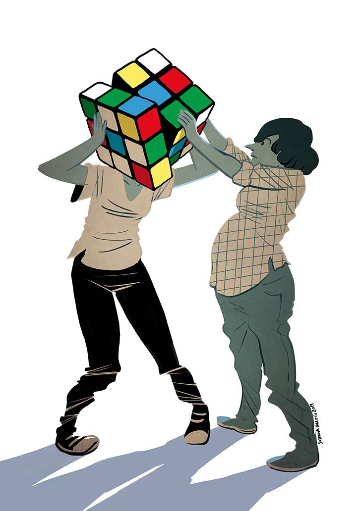 En la ilustración, una mujer embarazada ayuda a la madre no gestante a desentrañar el cubo Kubrik de su cabeza./ Susanna Martín