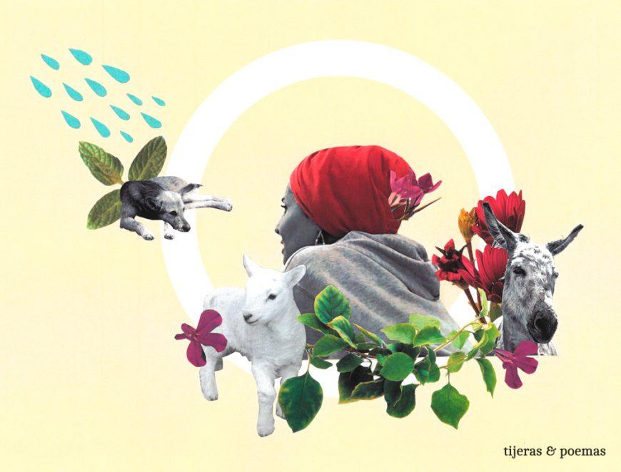 Collage de Ana Lorente que muestra a una palestina entre animales: un perro, un cordero y un burro.