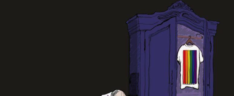 Ilustración de Mercedes Lozano en la que un cura con gesto abatido está sentado al lado de un armario en cuyo interior hay colgada una camiseta con camiseta arcoiris.