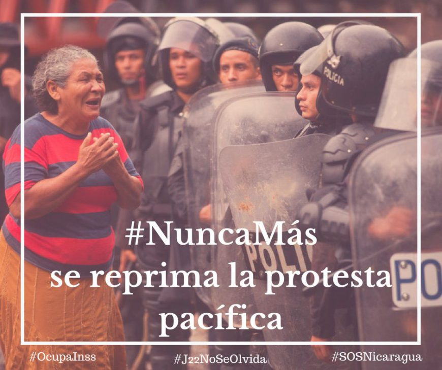 Una de las postales compartidas por la cuenta de Twitter de #OcupaInss en junio de 2018 para denunciar la represión policial