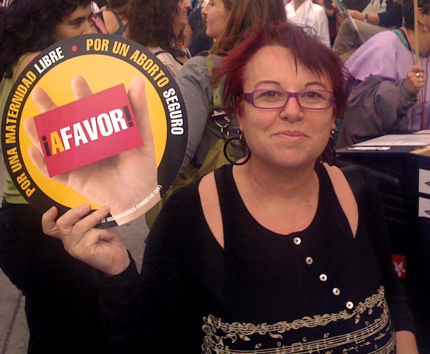 Montserrat Boix en una manifestación a favor del derecho al aborto./ Foto de Boix en Wikimedia Commons