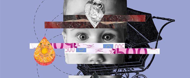 Collage de Señora Milton formado por la cara de un bebé, un carricoche, billetes de 500 euros, la imagen de una nodriza...
