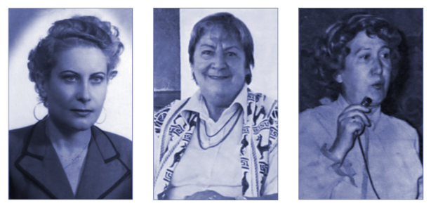 De izq. a dcha.: Maria Dolores de Pablos, Gloria Fuertes y Adelaida Las Santas