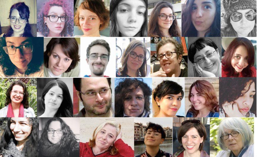un collage de caras de mucha gente