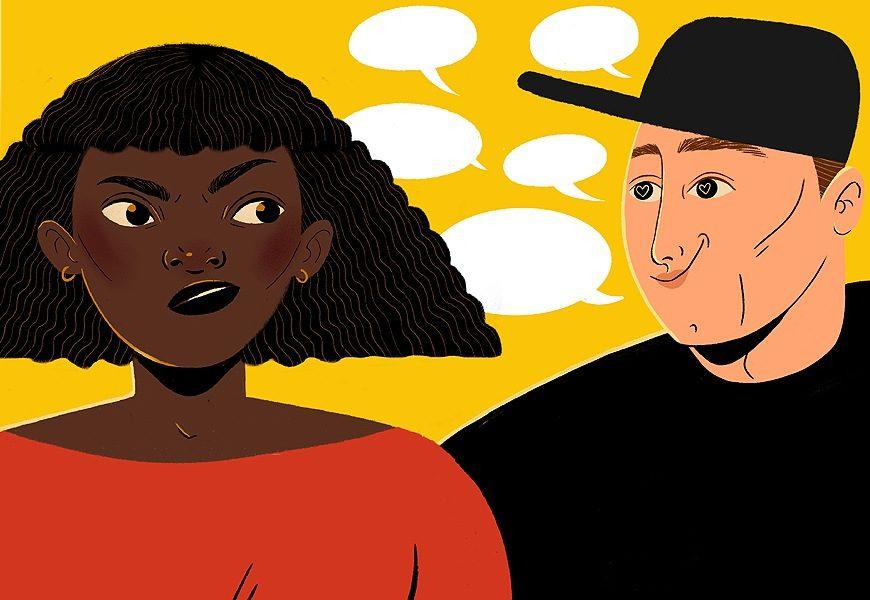 Ilustración: Lydia Mba. Una mujer negra mira con fastidio a un tío blanco que le pone ojitos