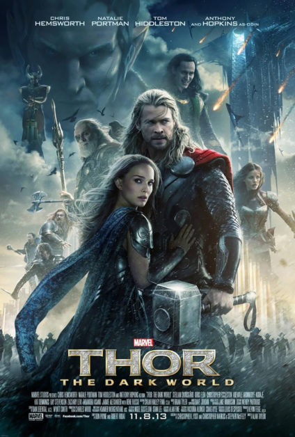 Cartel de Thor: The darkworld, en el que Natalie Portman aparece abrazada a Chris Hemsworth