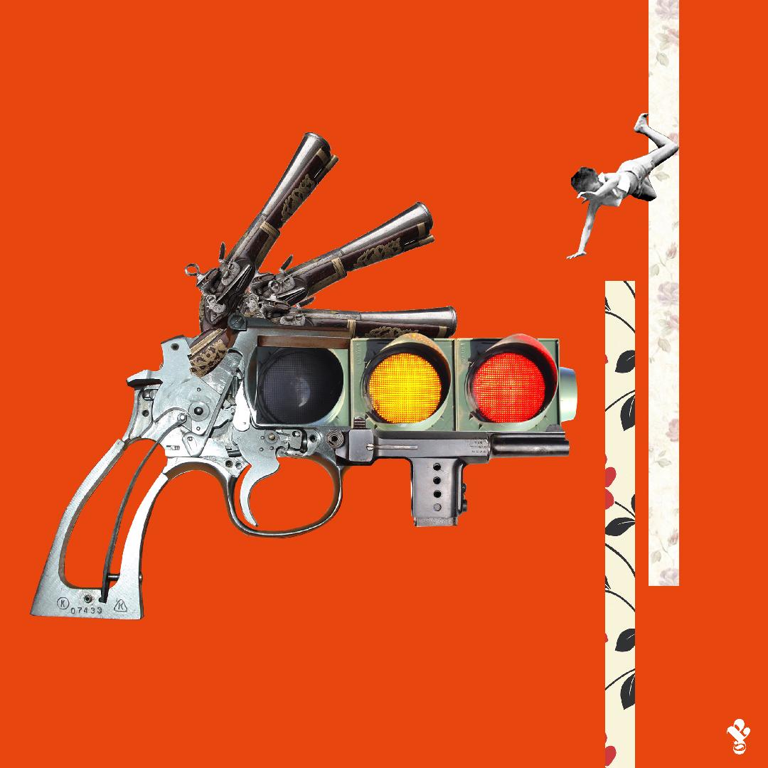 Ilustración de Señora Milton donde aparece una pistola con un cañón que es un semáforo, evocando la idea de seguridad mediante violencia.