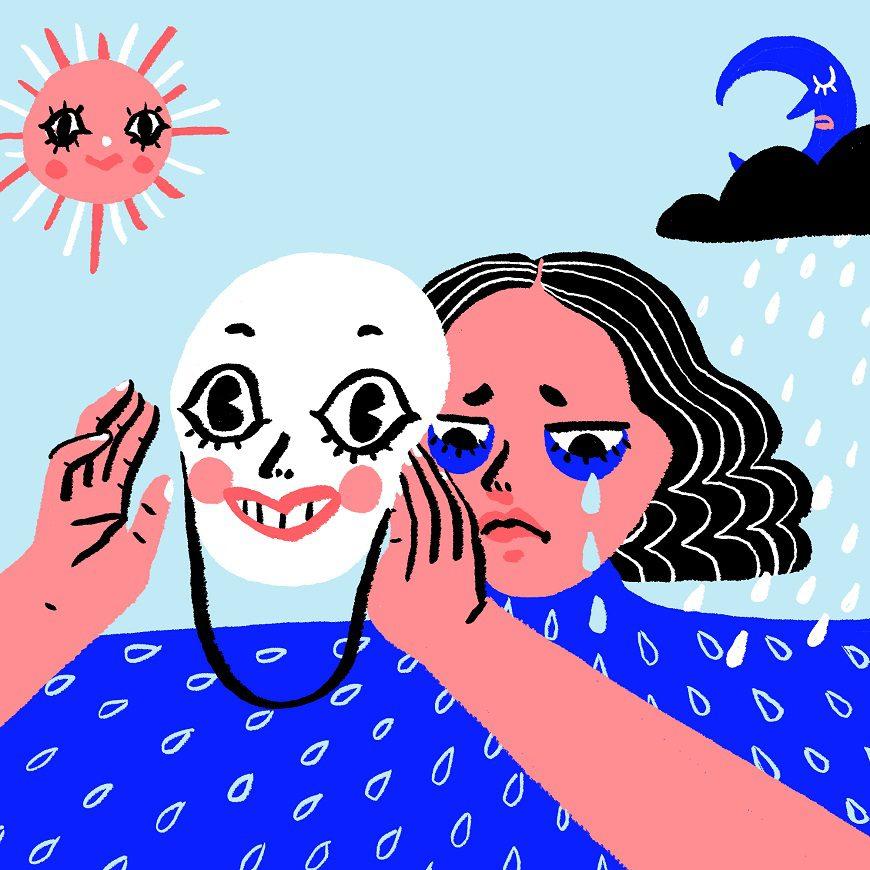 Ilustración de Sonia Lazo donde una mujer sujeta una máscara sonriente frente a su rostro, mientras se la ve llorar tras ella.